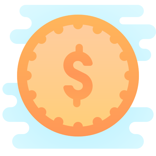 Gold icon of a coin with a $ symbol