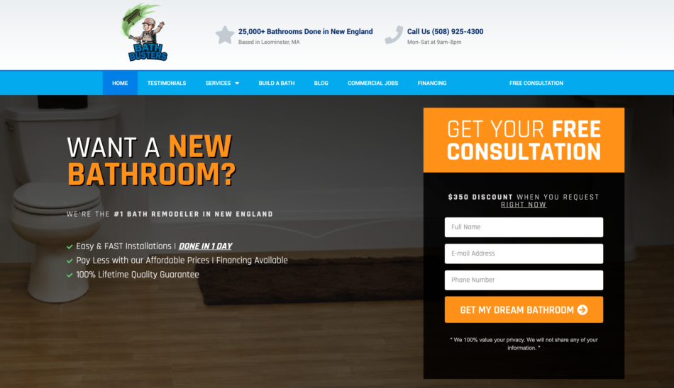 Bath Busters website homepage, designed by Zoka Design