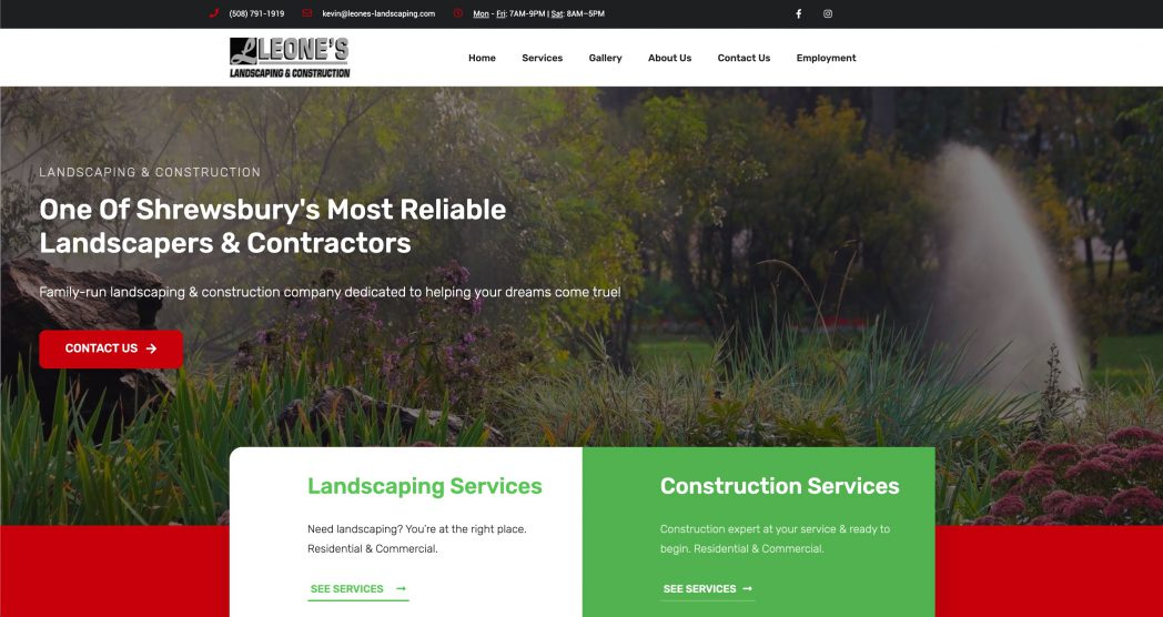 Screenshot Leone's Landscaping in Shrewsbury, MA. Made by Zoka Design in Leominster, MA.